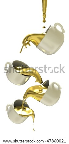 Liquid gold flow in tea cups - stock photo