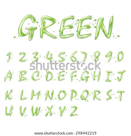 liquid green alphabets and numbers collection isolated on white background