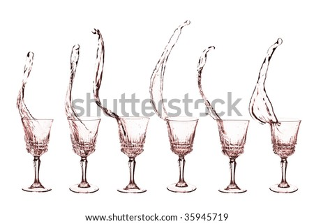 Liquid in glass with splashes - isolated on white - set of six shots - stock photo