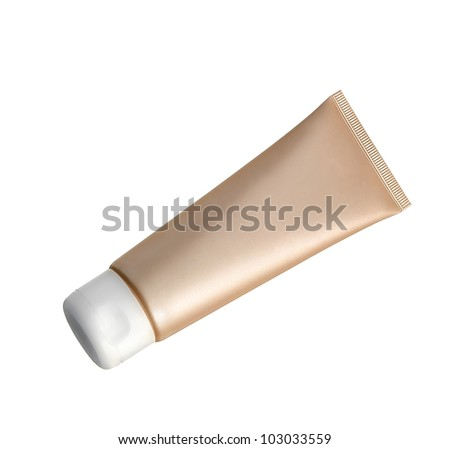 liquid makeup foundation in tube isolated on white background