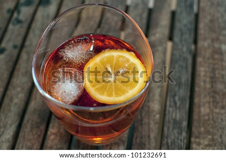 liquid red alcohol cocktail - stock photo