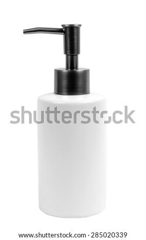 liquid soap bottle on white - stock photo
