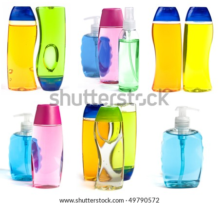 Liquid Soap Bottles And Shower Gel Isolated On White Background - stock photo