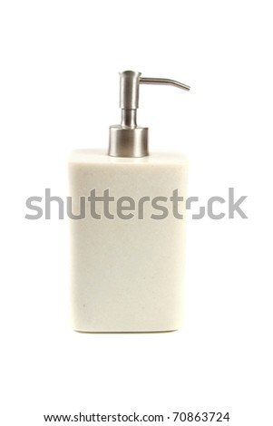 liquid soap container isolated on white background - stock photo