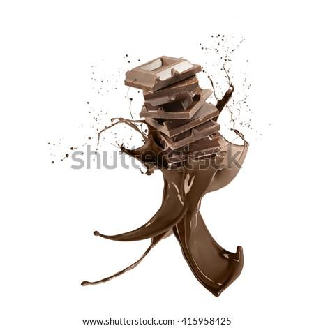 liquid splash chocolate around stack of chocolate blocks, isolated on white - stock photo