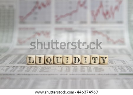 Liquidity word on business newspaper