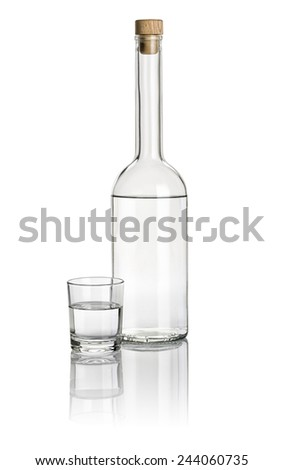 Liquor bottle and drinking glass filled with clear liquid - stock photo