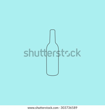 Liquor bottle. Outline simple flat icon isolated on blue background