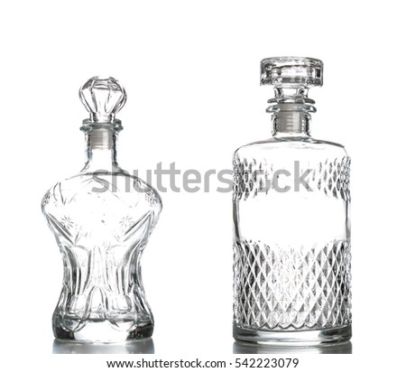 liquor decanter made of glass isolated on white decanter