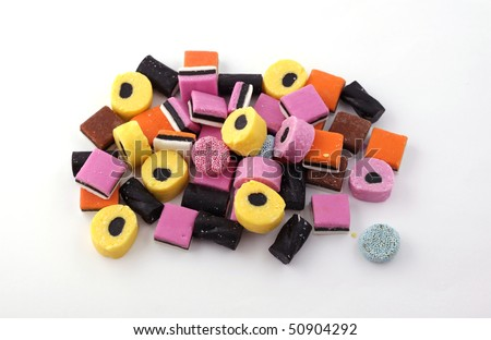 Liquorice Allsorts, eated by all the family. - stock photo