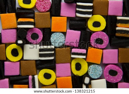 Liquorice allsorts fill frame - stock photo