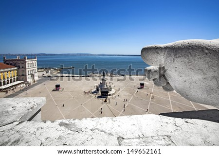 Lisbon, arch of street augusta - stock photo