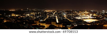 Lisbon at night panoramic - stock photo