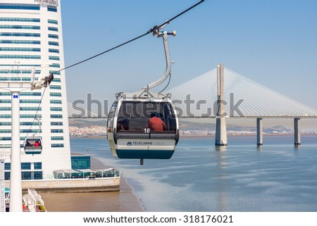 LISBON-AUGUST 20: Cable Car at the Park of the Nations on August 20, 2015  in Lisbon, Portugal. At the Park of the Nations, where the Expo 98 World's Fair took place in 1998  - stock photo
