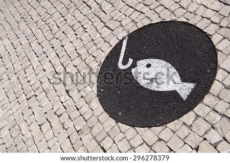 lisbon city portugal fishing paint symbol - stock photo
