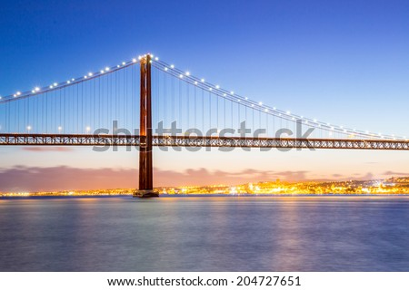 Lisbon cityscape and the 25 de Abril Bridge, Portugal