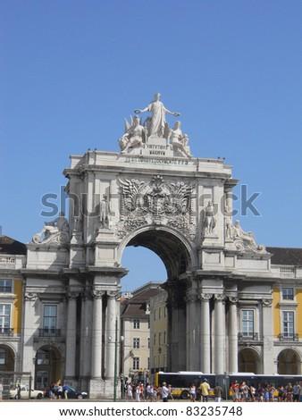 Lisbon commerce square - stock photo
