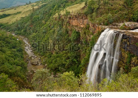Lisbon Falls in Mpumalanga, South Africa, in landscape showing gorge and river - stock photo
