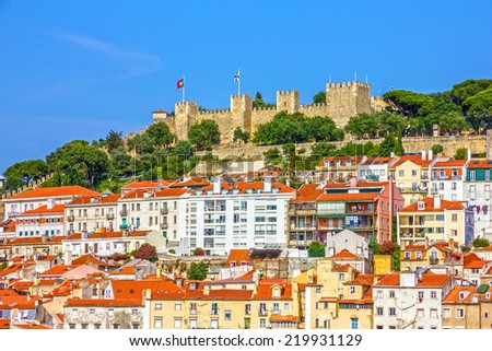 Lisbon fortress of Saint George view, Portugal (Castelo de Sao Jorge) - stock photo