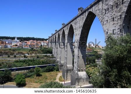 Lisbon Â?Â? historic aqueduct - stock photo