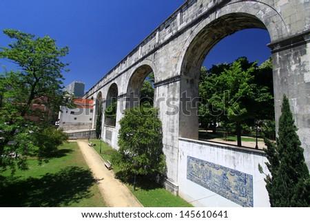 LisbonÂ?Â? historic aqueduct - stock photo
