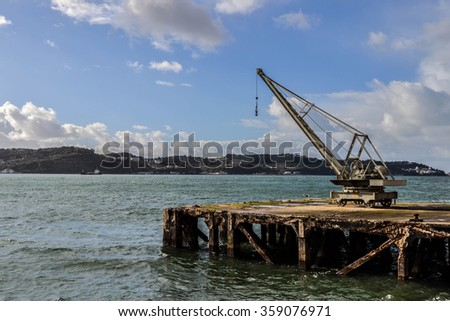 LISBON - JANUARY 5: Antique river peer with crane in Central Tejo, Belem near the Tagus River, Lisbon, Portugal on January 5, 2016
