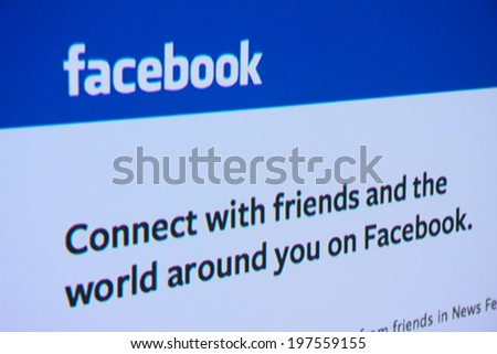 LISBON - JUNE 4, 2014: Photo of Facebook homepage on a monitor screen. Facebook is an online social networking service.