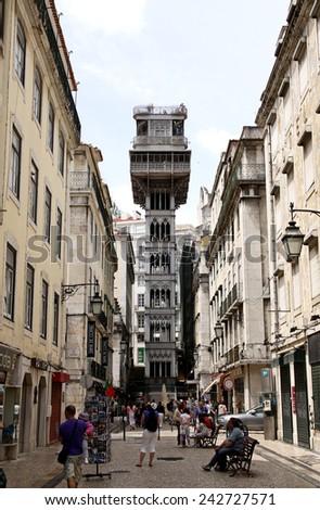 LISBON -  - MAY 27, 2012: Elevator de Santa Justa was built in 1900 - stock photo