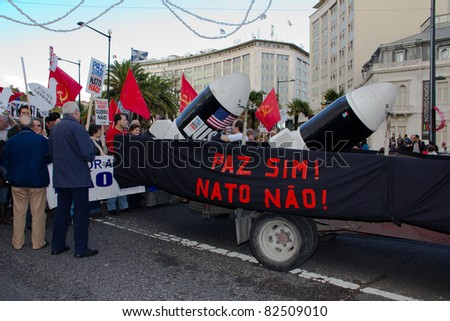 LISBON – NOV 20: The protests against NATO, on the day of NATO Summit November 20, 2010 in Lisbon, Portugal