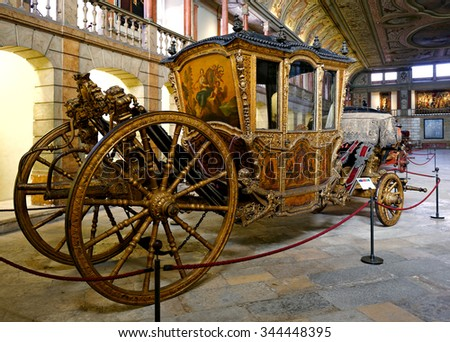 LISBON - NOVEMBER 10, 2015: French Ceremonial Coach from 18th Century, it belonged to Prince Francisco, Duke of Beja. National Coach Museum (Museu dos Coches) in Lisbon, Portugal - stock photo