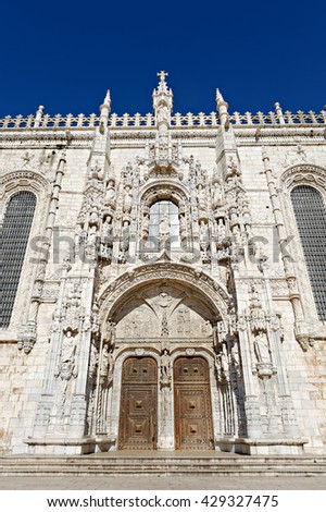 LISBON - November 10, 2015: Jeronimos Monastery in Belem, Lisbon. The renaissance Jeronimos monastery built by the king Manuel the first in 1502 - stock photo