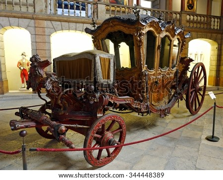 LISBON - NOVEMBER 10, 2015:Portuguese Ceremonial Coach from 18th Century used by Queen Maria I during the consecration of basilica de Estrela in Lisbon, now in National Coach Museum in Lisbon - stock photo