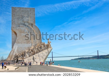 LISBON,PORTIGAL / CIRCA MAY 2014 - The 'Padrao dos Descobrimentos' (Monument to the Discoveries) monument is pictured in Lisbon by the Tagus river
