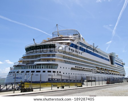 LISBON, PORTUGAL - APRIL 25: A view of Aida Cruise ship from Lisbon Port on April 25, 2014 in Lisbon.