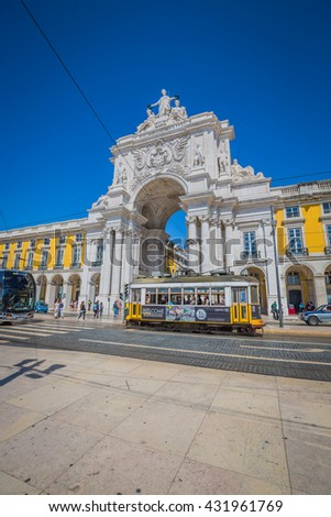 Lisbon,Portugal-April 12,2015:Commerce square, one of the most important landmarks of Lisbon, with the famous Triumphal Arch in Portugal