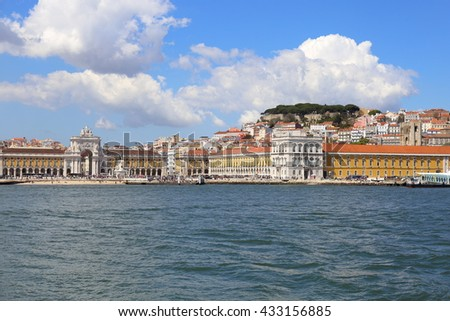 Lisbon, Portugal. April 26, St George's Castle stands above the city center with its crowds of tourists, on April 26, 2016 in Lisbon Portugal. - stock photo