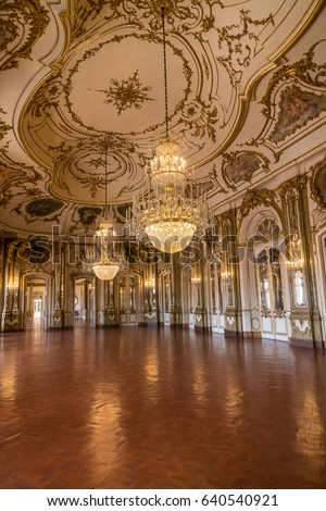 Lisbon, Portugal - April 22, 2017 - The Grand Ballroom of the 18th Century Royal Palace of Queluz.