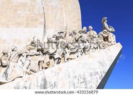 Lisbon, Portugal. April 26,  The Monument to the Explorers, on April 26, 2016 in Lisbon Portugal. - stock photo