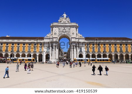 Lisbon, Portugal. April 25, Tourists explore the Praca do Comercio in the city center, on April 25, 2016 in Lisbon Portugal - stock photo