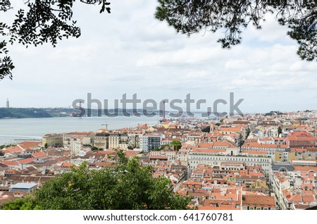 LISBON, PORTUGAL - APRIL 26: View over the city Lisbon in Portugal from the old castle Sao Jorge in the district Alfama on April 26, 2017