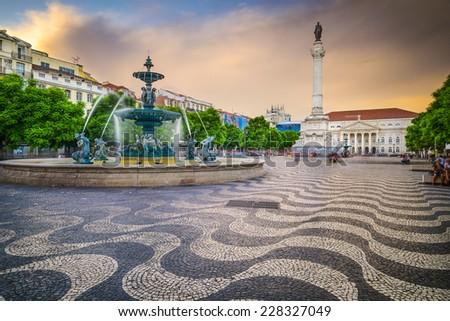 Lisbon, Portugal at Rossio Square. - stock photo