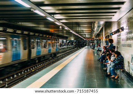 LISBON, PORTUGAL - AUGUST 09, 2017: People Travel By Subway Train In Downtown Lisbon City.