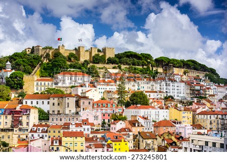 Lisbon, Portugal cityscape towards Sao Jorge Castle.