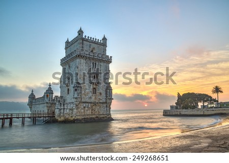 Lisbon, Portugal, Europe - view of the belem tower at sunset (national portuguese monument)-long exposure - stock photo