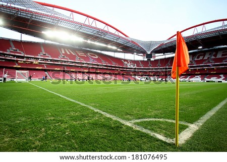 LISBON, PORTUGAL FEB - 27, 2014 : Interior view of the empty Estadio da Luz on February 27, 2014. Estadio da Luz is the home base of the football team Benfica SL.