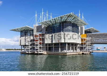 Lisbon, Portugal - February 01, 2015: Lisbon Oceanarium, the second largest oceanarium in the world and the biggest in Europe in Parque das Nacoes, Lisbon, Portugal - stock photo