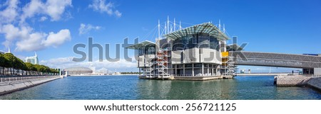 Lisbon, Portugal - February 01, 2015: Lisbon Oceanarium, the second largest oceanarium in the world and the biggest in Europe with a view over the Parque das Nacoes, Lisbon, Portugal - stock photo