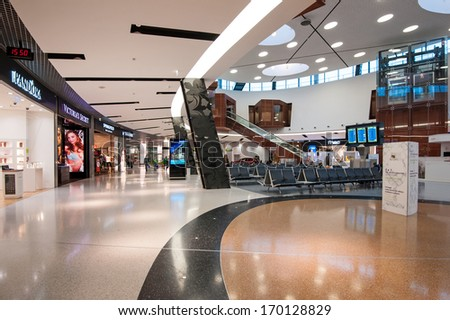 LISBON, PORTUGAL - JANUARY 1, 2014: Lisbon airport. Lisbon Portela Airport is an international airport located in the city of Lisbon, it opened on 1942 and had reached 100,000 passengers . - stock photo