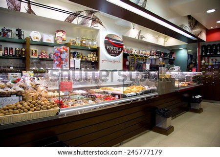 LISBON, PORTUGAL- January 10th, 2015:Portela cafes in Lisbon on the 10th of January 2015 Lisbon, Portugal. Portela's is a small chain of portuguese coffee shops.  - stock photo
