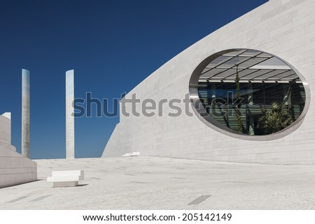 LISBON, PORTUGAL - JULY 13: fragment of the public area of Champalimaud Centre for the Unknown designed by Charles Correa on July 13, 2014.
